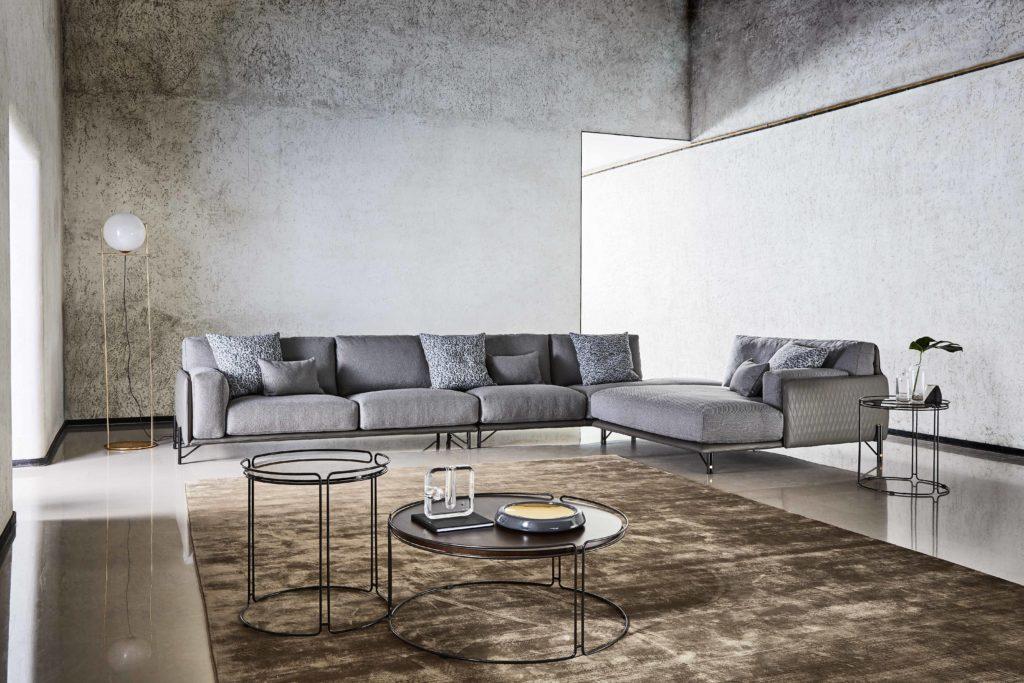 divano doppio tessuto angolare modulare piedini acciaio