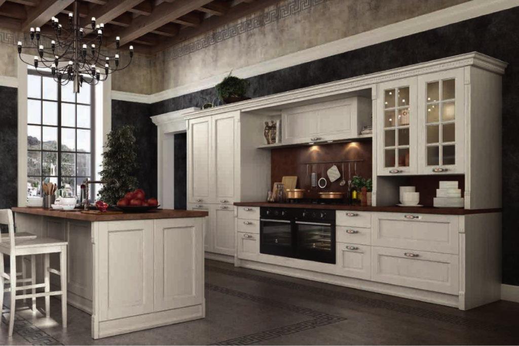 cucina elegante bianca con doppio forno e isola centrale