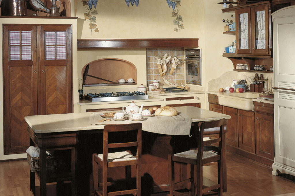 cucina in muratura con penisola