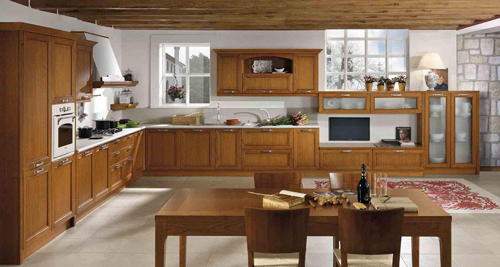 cucina classico contemporaneo ante in legno assi soffitto