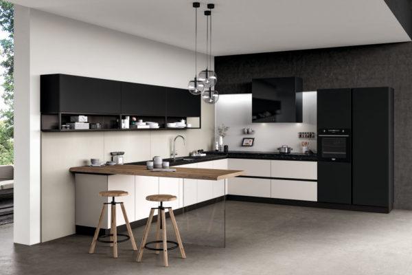 cucina moderna con sgabelli